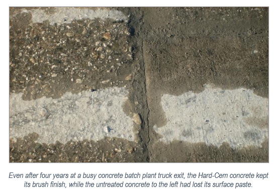 Even after four years at a busy concrete batch plant truck exit, the Hard-Cem kept its brush finish, while the untreated concrete to the left had lost its surface paste.